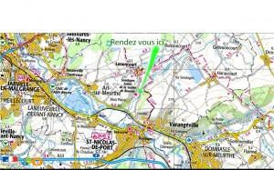 Plan pour aller aux chevalements de sondage de Varangéville-Lenoncourt.